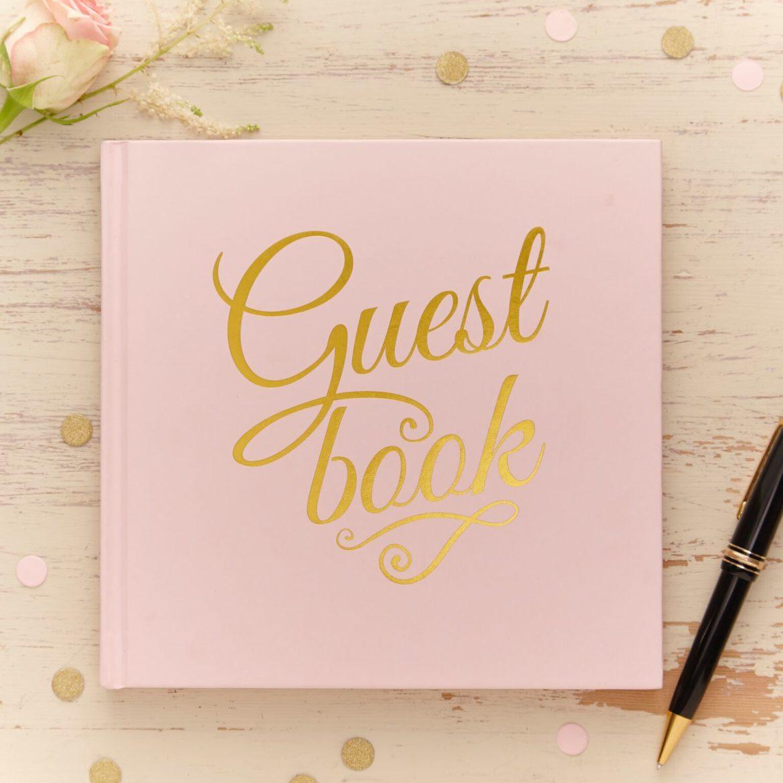 Pinkki-kultainen vieraskirja