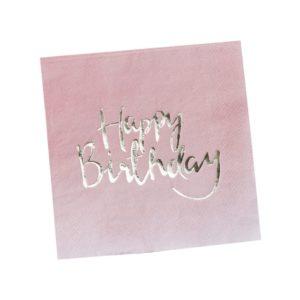 Happy Birthday vaaleanpunaiset lautasliinat