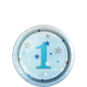 Tähtikuvioidut sinisävyiset lautaset 1 vuotiaalle
