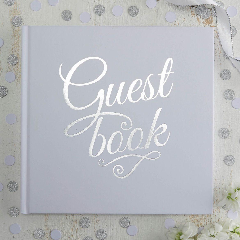 Valkoinen ja hopea vieraskirja