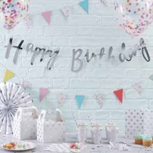 Hopeinen happy birthday nauha
