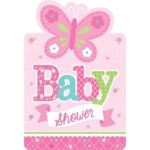 Baby shower kutsukortit pinkki