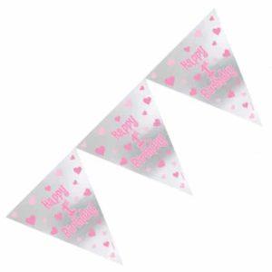 Pinkkisävyinen viirinauha 1-vuotiaalle