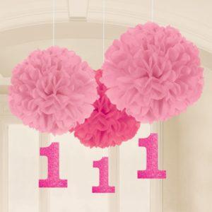 Vaaleanpunaiset pompomit 1-vuotiaalle