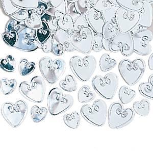Hopeanväriset sydänkonfetit