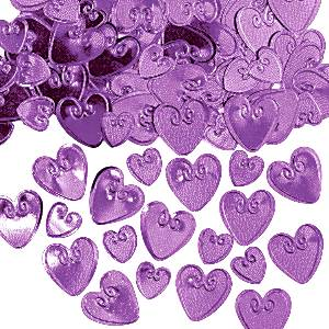 Violetit konfettisydämet