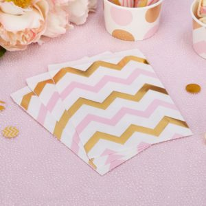 Chevron Gold & Pink