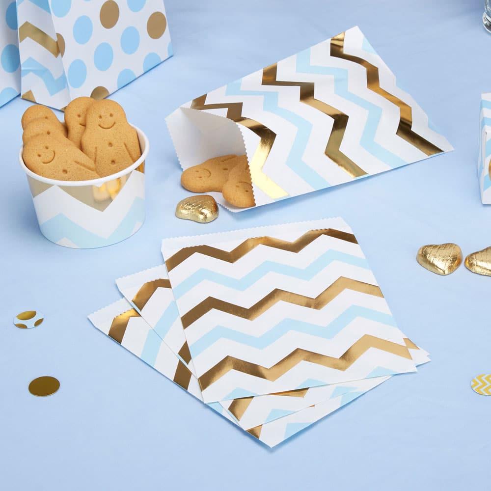 Chevron sininen kulta paperipussit