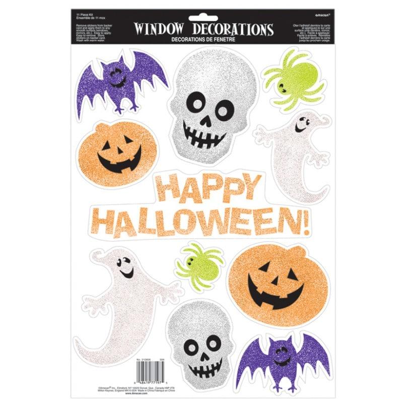 Halloween ikkunakoristesetti glitter