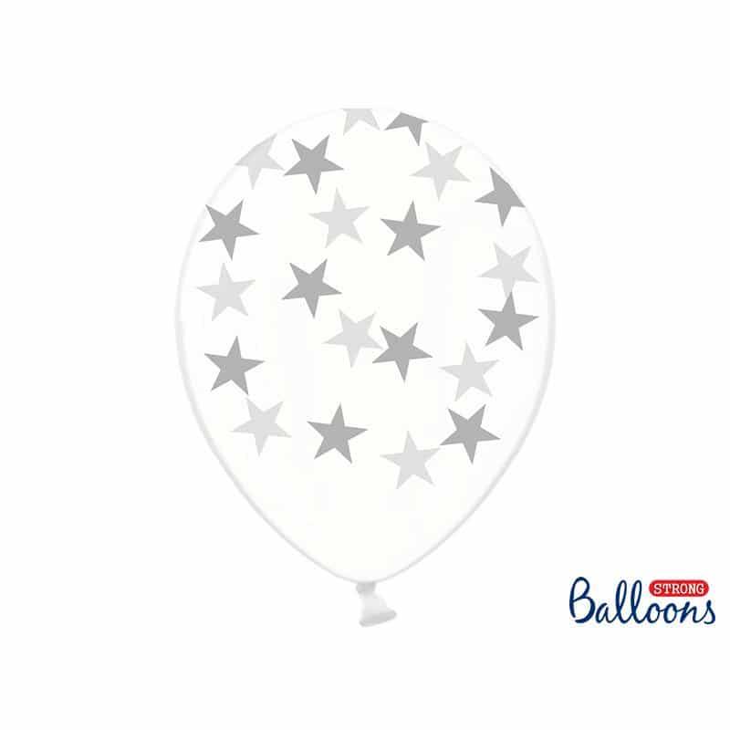 Kirkkaat ilmapallot hopeisilla tähdillä
