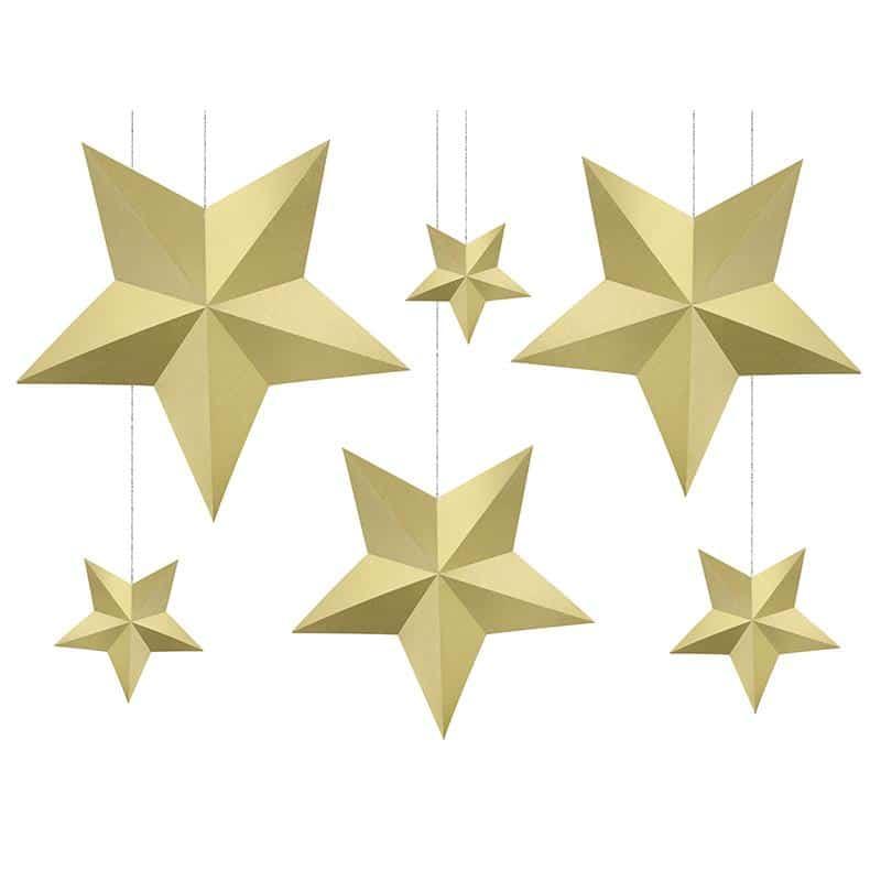 Kullanväriset tähtikoristeet