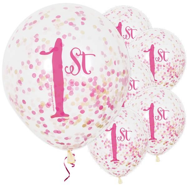 Pinkit konfettipallot 1-vuotiaalle