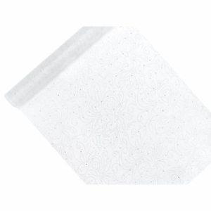 Valkoinen organza timanttikoristekuvioitu