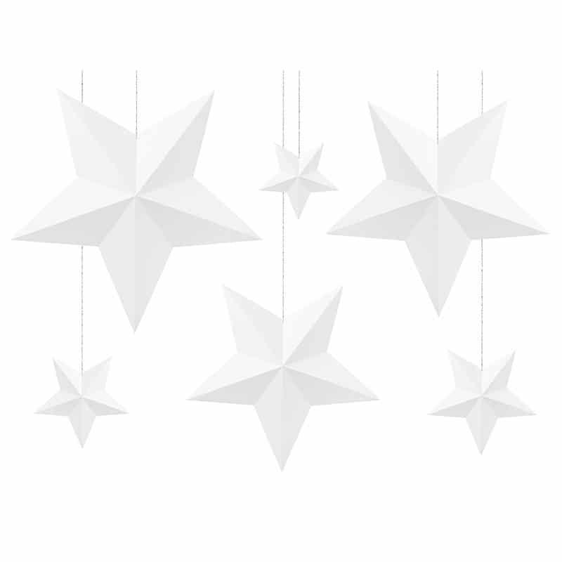 Valkoiset tähtikoristeet