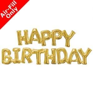 Happy Birthday kultaiset kirjainfoliopallot