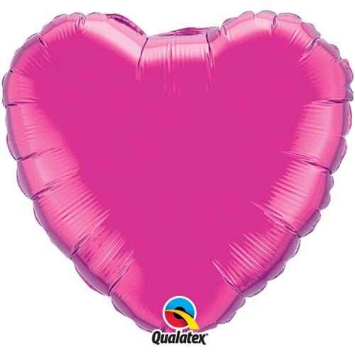 Kirkkaan pinkki sydämenmuotoinen foliopallo