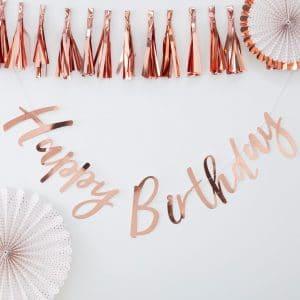 Happy Birthday ruusukultainen onnittelunauha