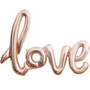 Love ruusukultainen foliopallo