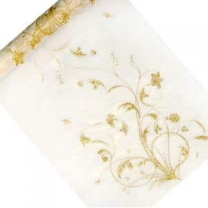 Organza valkoinen kultakuviolla