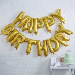 Happy Birthday foliokirjaimet kulta