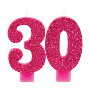 30-vuotiskynttilä kirkas glitterpinkki