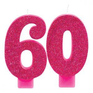 60-vuotiskynttilä pinkki glitter