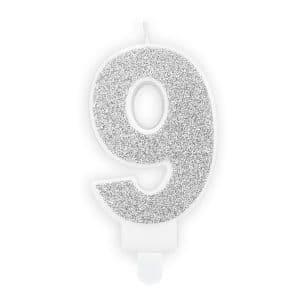 Kakkukynttilä 9 glitterhopea
