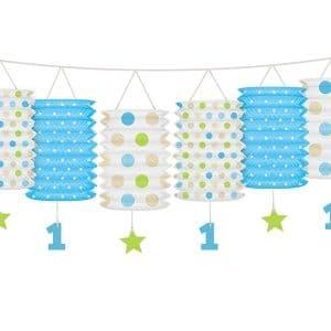 Paperilyhtyketju 1-vuotiaalle sinivihreä