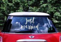 Just married hääauton tarra