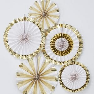Paperiviuhkat - kulta ja valkoinen