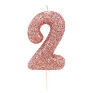 Ruusukultainen kakkukynttilä 2