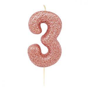 Ruusukultainen kakkukynttilä 3