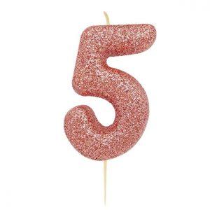 Ruusukultainen kakkukynttilä 5