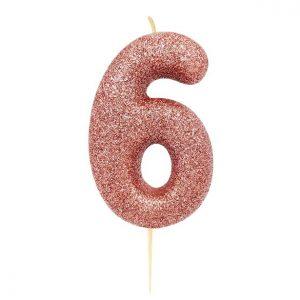Ruusukultainen kakkukynttilä 6