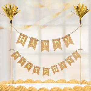 Kultainen happy birthday kakkuviiri