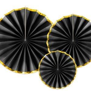 Paperiviuhkat kulta musta mix