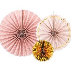 Paperiviuhkat roosa kulta mix