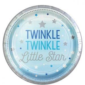 Twinkle little star vaaleansiniset pahvilautaset