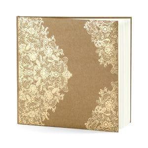 Vieraskirja kartonki pitsiprintillä kulta
