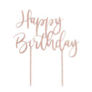 Happy birthday ruusukultainen kakkukoriste