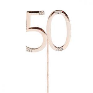 Ruusukultainen 50-vuotiskakkukoriste