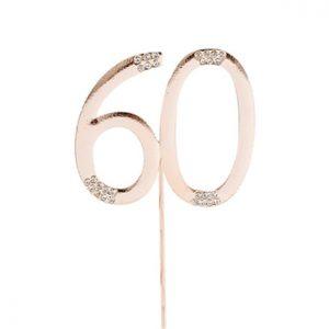 Ruusukultainen 60-vuotiskakkukoriste