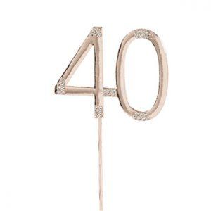 Ruusukultainen kakkukoriste 40-vuotiaalle