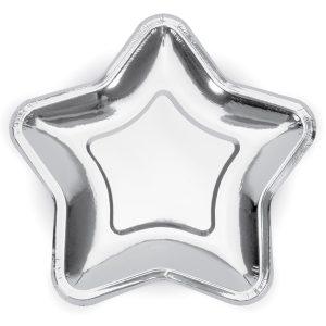 Tähdenmuotoiset lautaset hopea