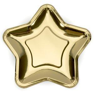 Tähdenmuotoiset lautaset kulta