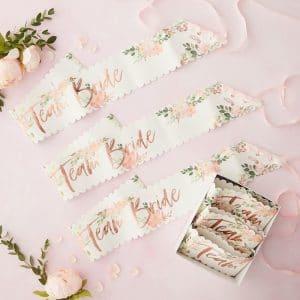 Floral Hen Team Bride olkanauhat