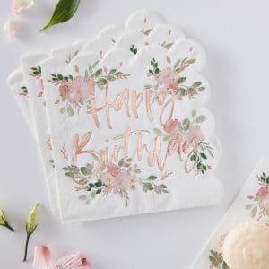 Happy Birthday ruusukultaiset kukalliset servetit