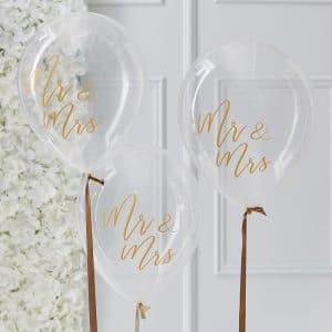 Kirkkaat Mr & Mrs ilmapallot kultatekstillä