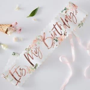 Olkanauha it's my birthday ruusukulta ja kukka
