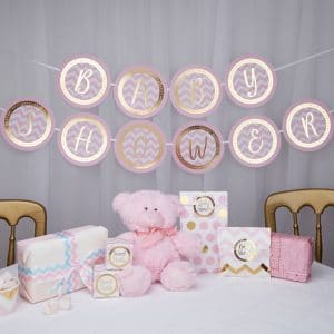 Baby Shower viirinauha pink chevron